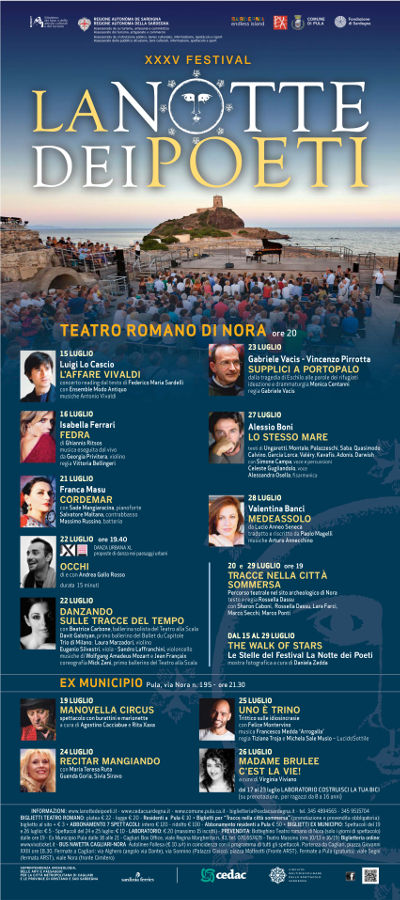 Locandina del 35° Festival della Notte dei Poeti | Teatro Romano di Nora | 15 - 29 luglio 2017