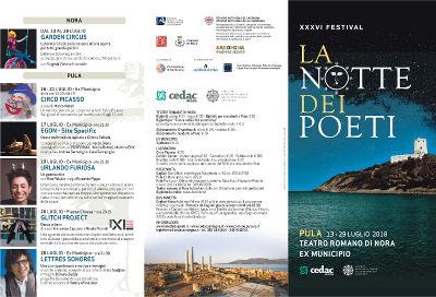 Brochure del 36° Festival della Notte dei Poeti | Teatro Romano di Nora | 13 - 29 luglio 2018
